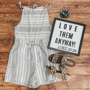 Blissful Ivory Striped Romper